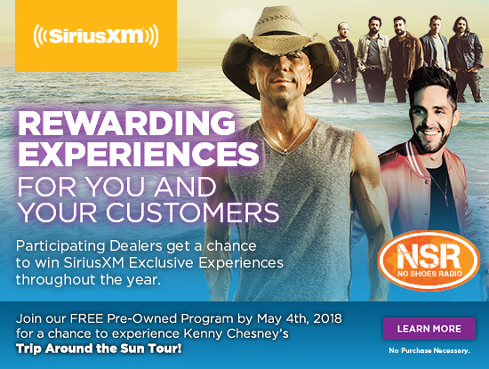 Rewarding Experiences for you and your customers. Join our FREE Dealer Programs by May 4th, 2018 for a chance to experience Kenny Chesney's Trip Around The Sun Tour. Learn More. No purchase necessary.