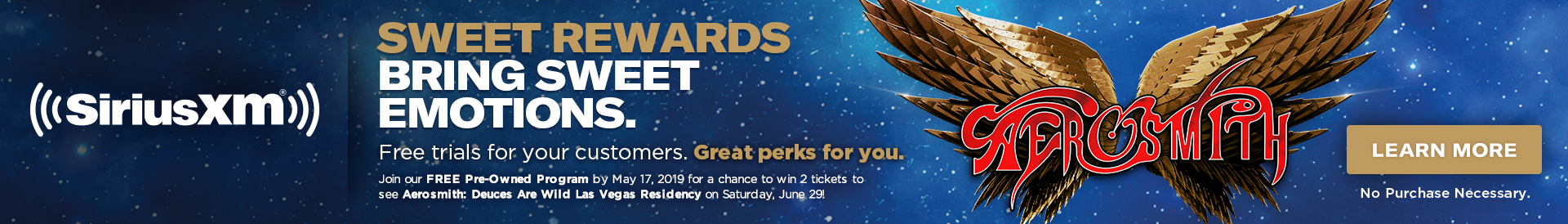 Join our FREE Pre-Owned Program by May 17, 2019 for a chance to win 2 tickets to see Aerosmith in Las Vegas on Saturday, June 29!