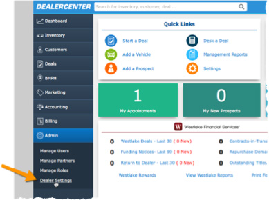 DealerCenter Admin screen