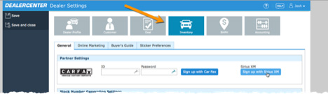 DealerCenter Inventory screen